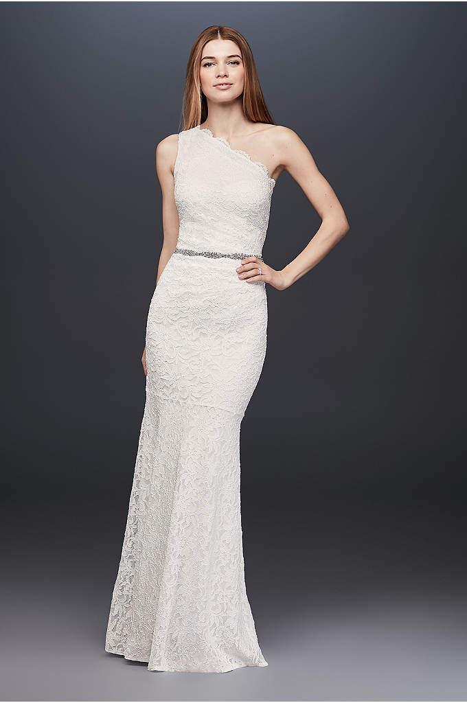 Scalloped One-Shoulder Glitter Lace Sheath Gown - Crafted of glitter-kissed lace, this scalloped one-shoulder sheath