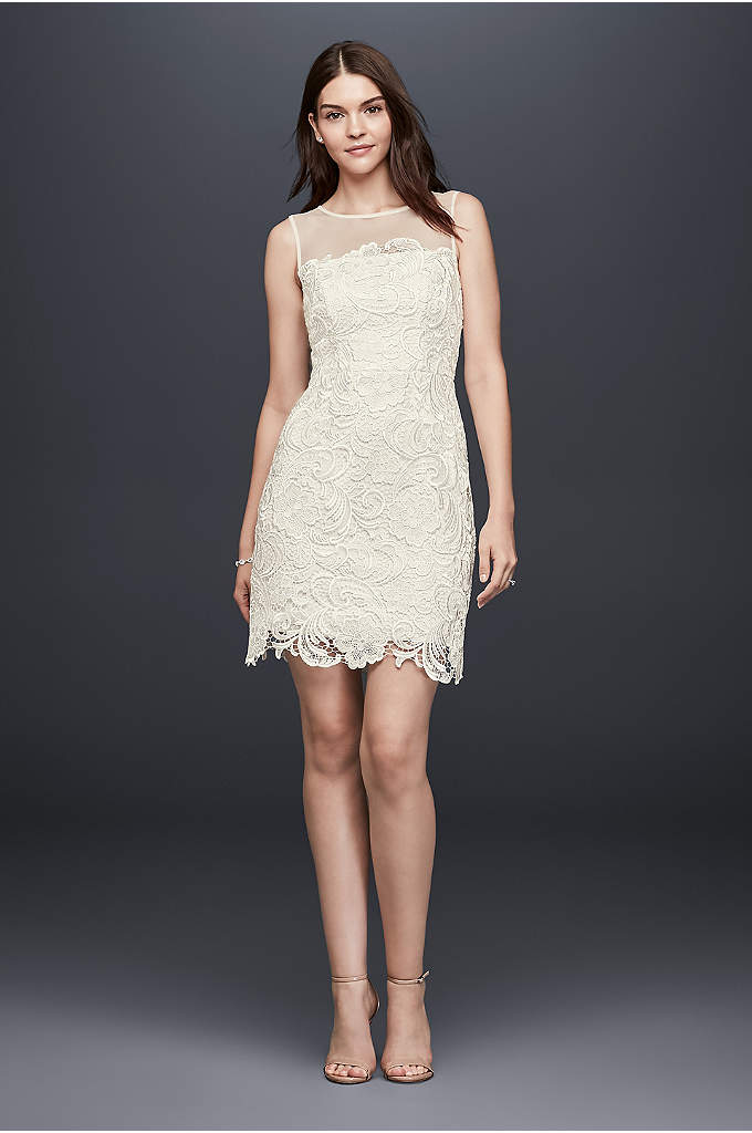 Illusion Guipure Lace Short Dress - Crafted of eye-catching guipure lace, this ladylike dress