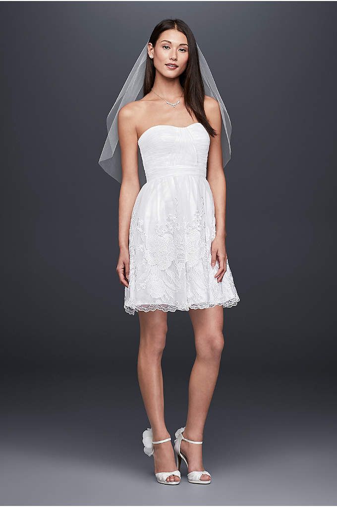 Embroidered Tulle Fit-and-Flare Short Dress - Romantic and fashion-forward, this short tulle fit-and-flare dress