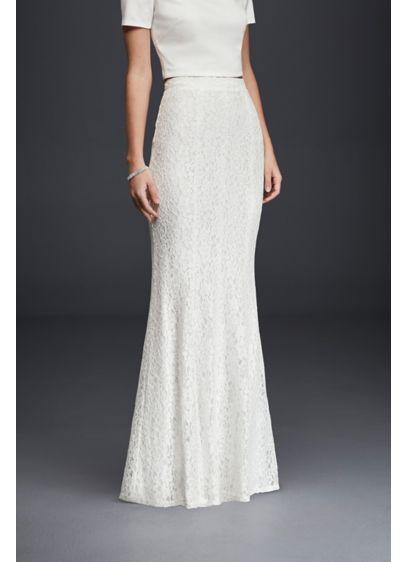 Long slim lace skirt davids bridal for Slim white wedding dresses