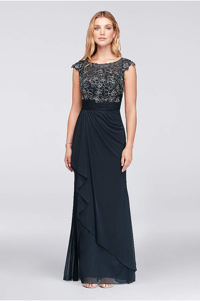 Gold-Edge Lace and Mesh Cap Sleeve Sheath Gown - Gorgeous details abound on this lace and mesh