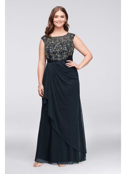 Long Sheath Cap Sleeves Formal Dresses Dress - Decode 18
