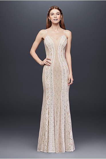 Mixed Lace Sheath Gown with Spaghetti Straps