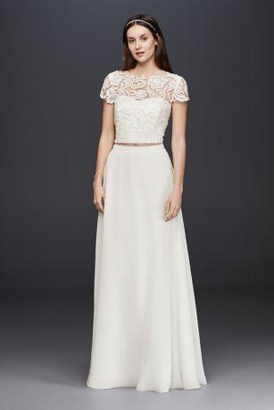 Lace cap sleeve crop top davids bridal save junglespirit Choice Image