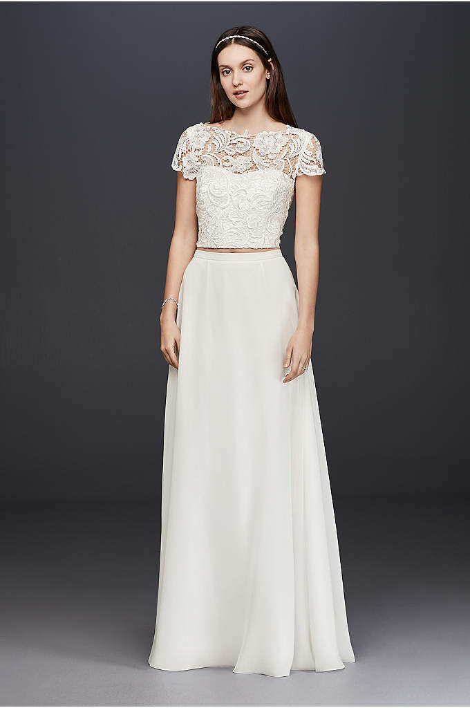 Lace Cap Sleeve Crop Top - Combining the elegance of an illusion lace bodice