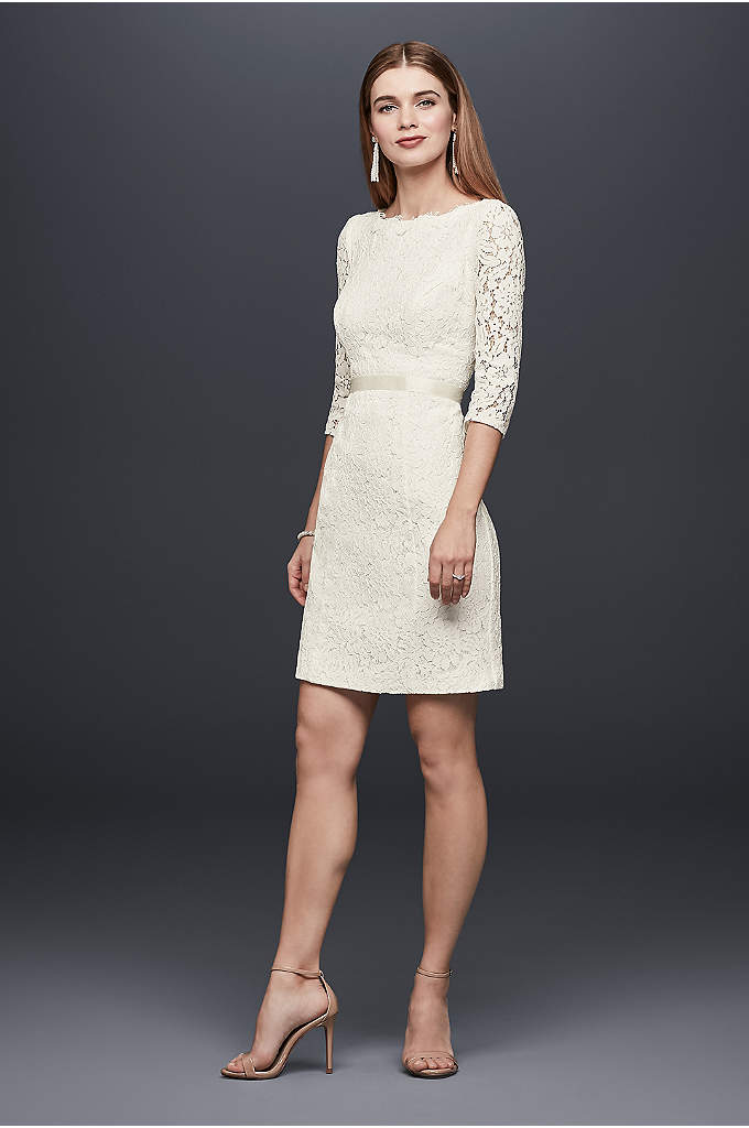 3/4-Sleeve Lace Sheath Dress with Keyhole Back - Wedding cocktails, anyone? This corded lace sheath dress