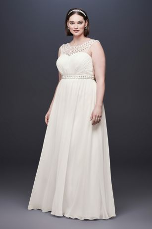 Beaded Plus Size Wedding Dress with Illusion Mesh - Show off your fabulous sense of style in