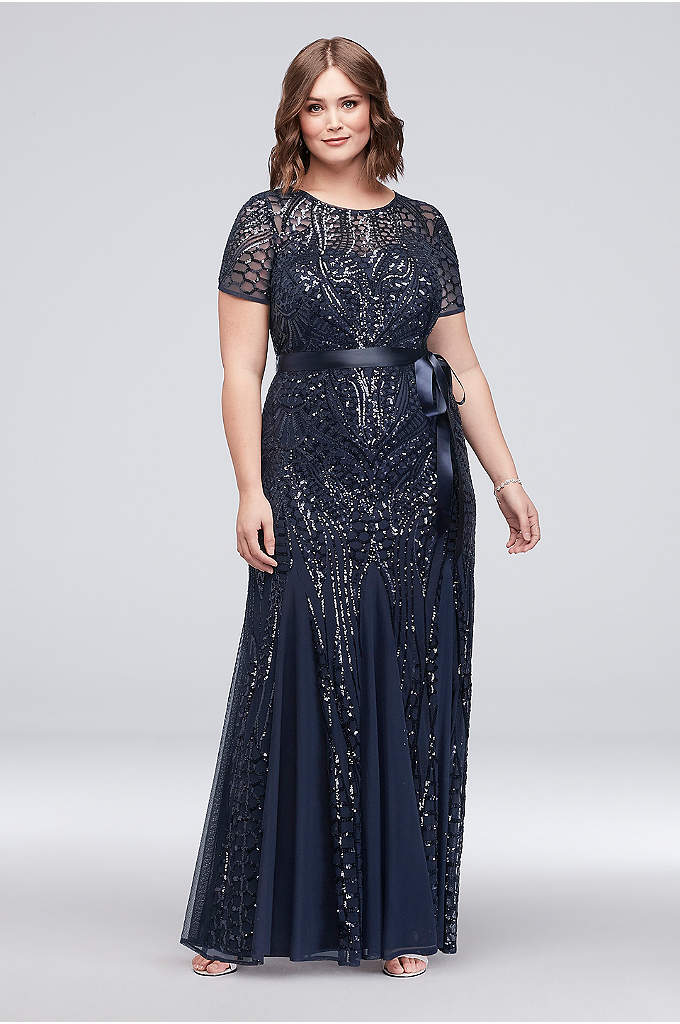 Short-Sleeve Sequined Illusion Plus Size Gown - Sparkling sequins make this godet-inset plus-size gown stand