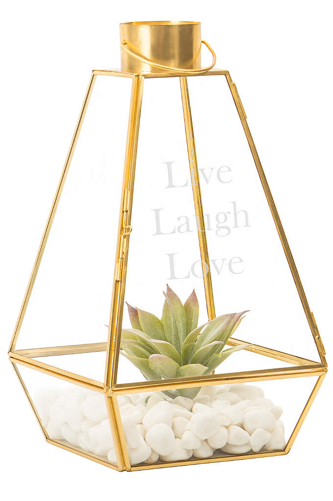 Personalized Gold Lantern Centerpiece - This Personalized Gold Lantern Centerpiece features a modern