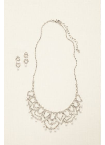 Scalloped Necklace with Pearls and Earring Set - Wedding Accessories