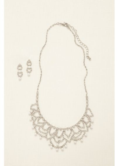 Scalloped Necklace with Pearls and Earring Set 1905427