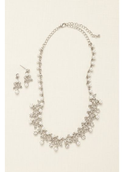 Pearl and Rhinestone Scroll Necklace Set - Wedding Accessories