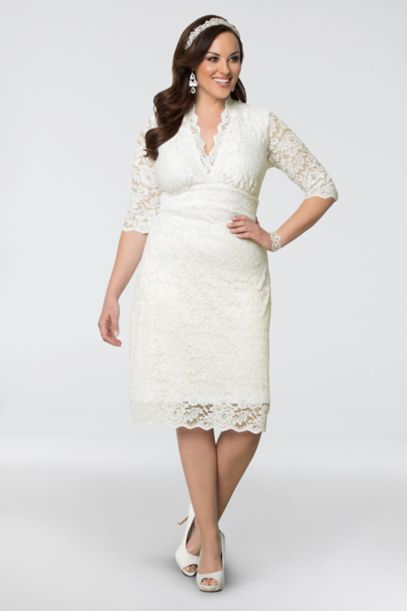 Luxe Lace Plus Size Short Wedding Dress | David's Bridal