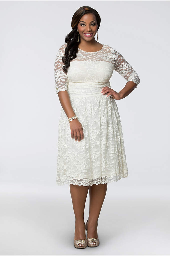 Aurora Lace Plus Size Short Wedding Dress - The illusion bodice of this beautiful plus size