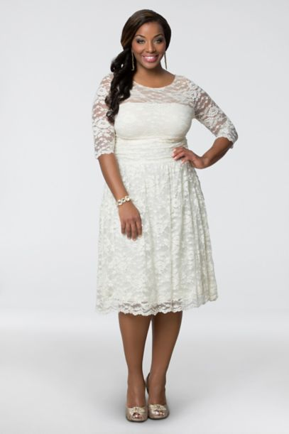 Aurora Lace Plus Size Short Wedding Dress David S Bridal