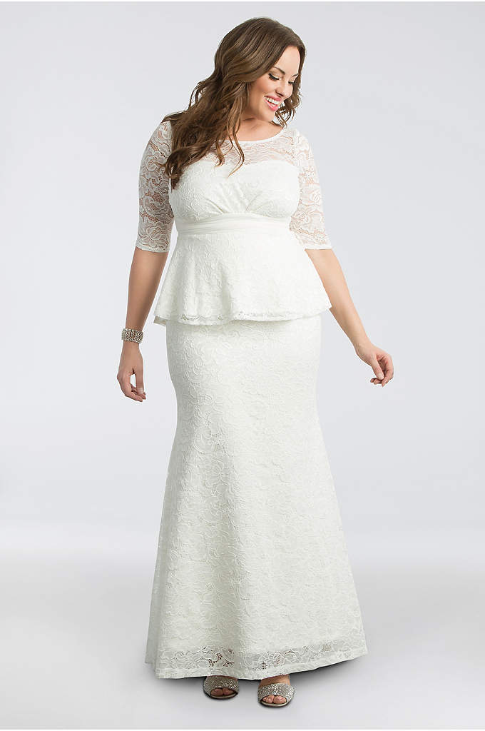 Chiffon wedding gown with ruffle detail and lace david 39 s for White peplum wedding dress