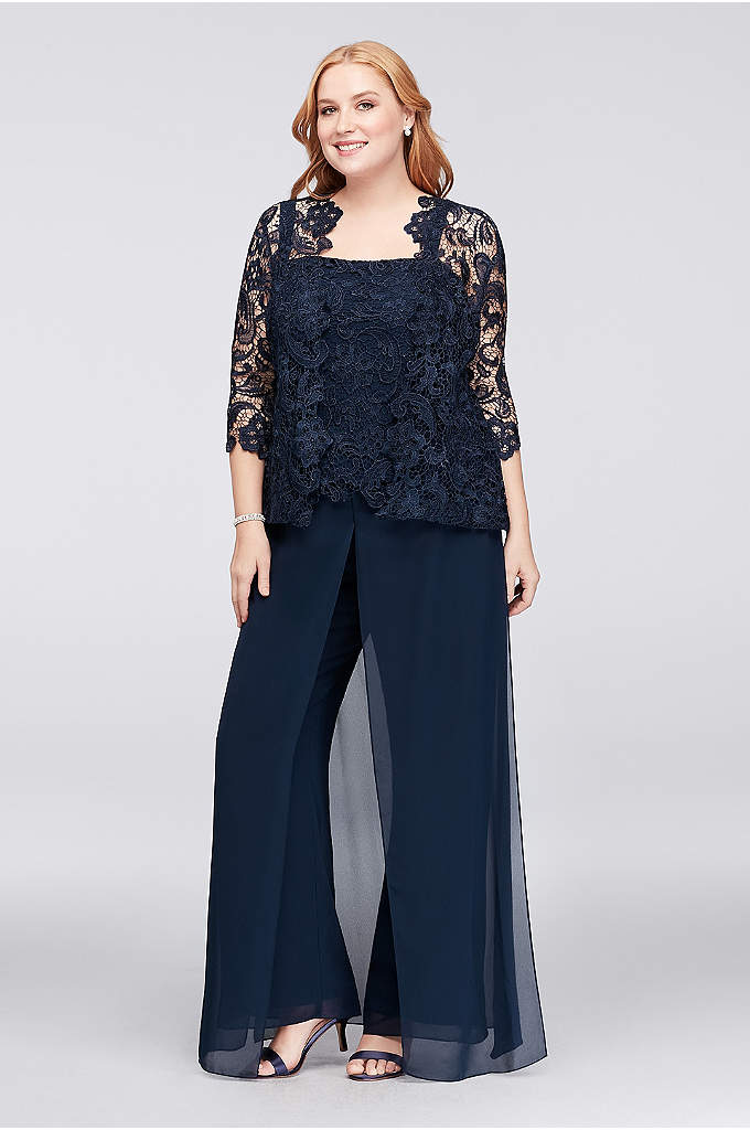 Guipure Lace and Chiffon Plus Size Pant Suit - Ornate guipure lace swirls into a pretty pattern