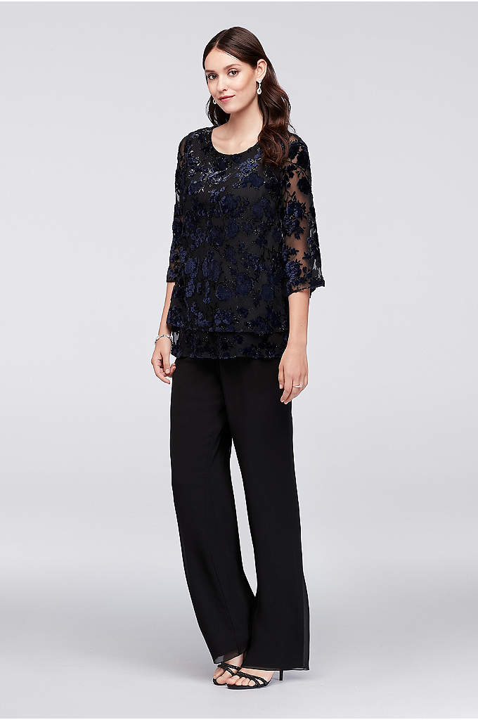 Burnout Velvet Top and Chiffon Wide-Legs - This ensemble has an easy, boho feel thanks