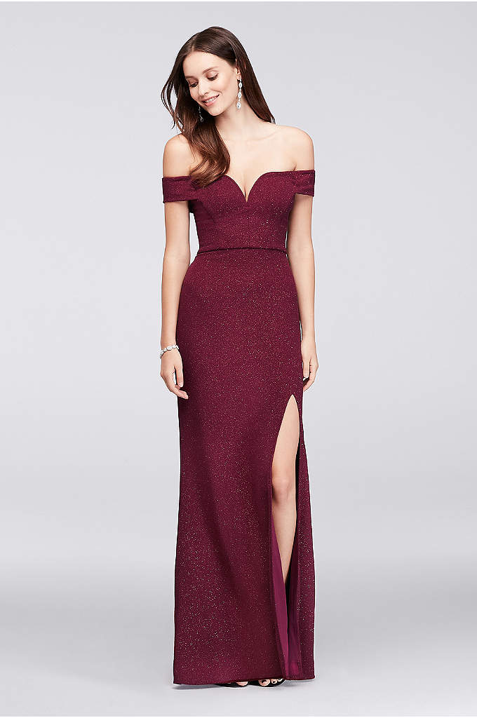 V-Wire Off-The-Shoulder Glitter Knit Gown - A V-wire sculpts a dramatic sweetheart neckline on