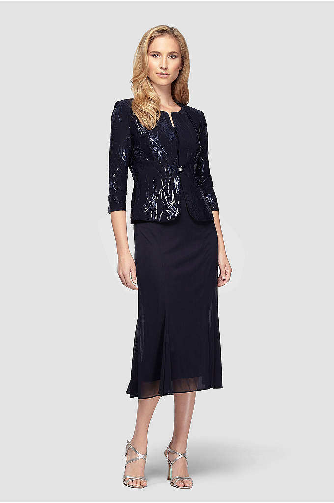 Mock Three-Piece Sequined Chiffon Dress - With the look of a three-piece ensemble and
