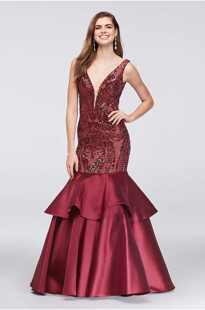Sequined Mermaid Gown with Tiered Mikado Skirt - Opulently detailed with a bold sequin pattern, this
