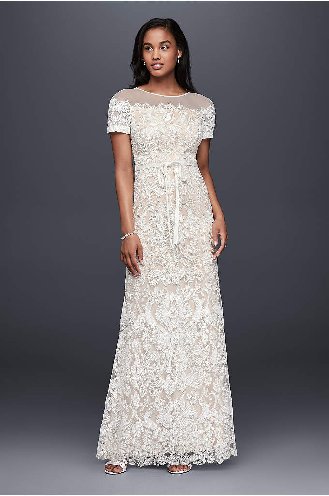Illusion Off-The-Shoulder Lace Sheath Dress - This strech-lace sheath dress's neutral lining makes its