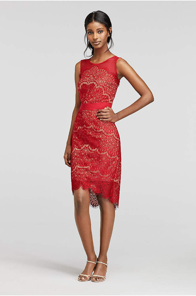 Short Sleeveless Illusion Scalloped Lace Dress - Alluring and vibrant, this short lace dress will