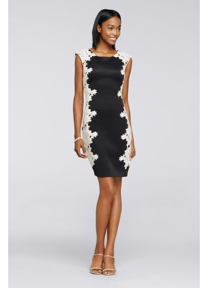 Scuba sheath dress with floral lace side panels david 39 s for Black floral dress to a wedding