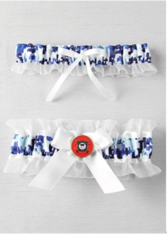 Military Collection Digital Camouflage Garter Set - Base of tan or blue digital camouflage garter