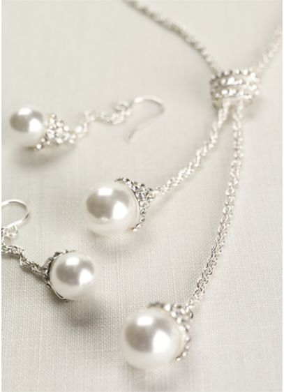 Pearl and Crystal Lariat Set - Wedding Accessories