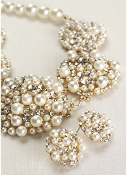 Pearl and Crystal Cluster Necklace and Earring Set - Wedding Accessories
