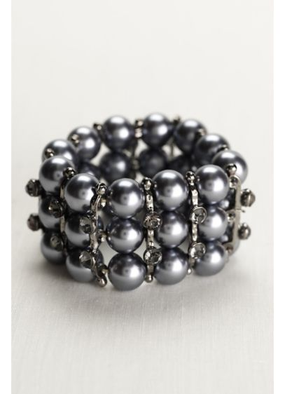 Pearl and Crystal Stretch Bracelet - Wedding Accessories