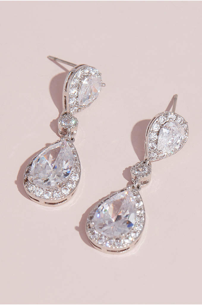 Cubic Zirconia Halo Teardrop Earrings - These classic crystal drop earrings make a timeless