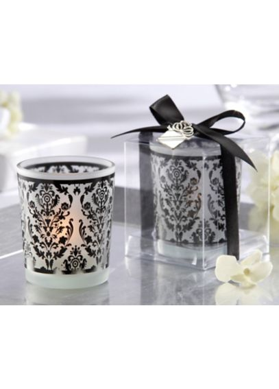 Damask Glass Tea Light Holder - Set of 4    20093BK