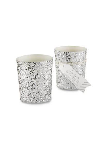 Sparkle and Shine Silver Glitter Votive Set of 4 - Wedding Gifts & Decorations