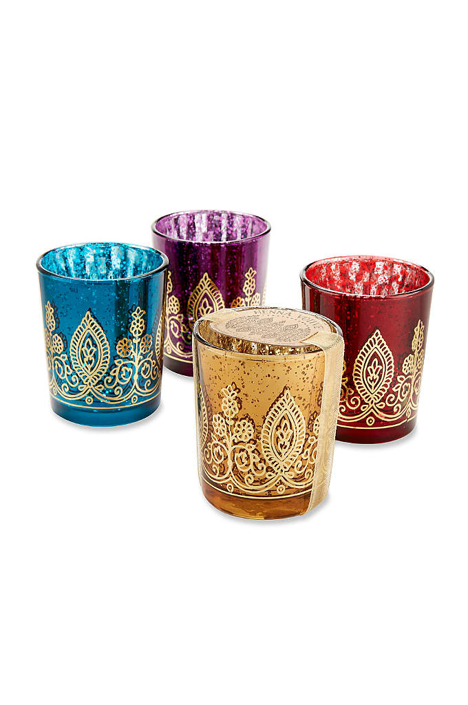 Indian Jewel Henna Votives Assorted Set of 4 - With these Indian Jewel Henna Votives, your friends