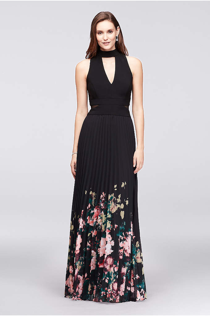 Pleated Floral-Print Chiffon Choker Dress - Talk about eye-catching: A floral-printed, pleated chiffon skirt