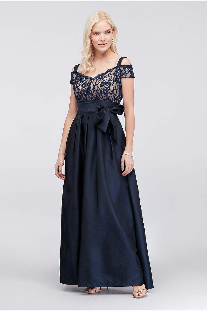 Pleated Taffeta Dress with Glitter Lace Bodice - A traditional taffeta ball gown for the mother