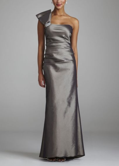 One Shoulder Stretch Taffeta Long Dress 20742