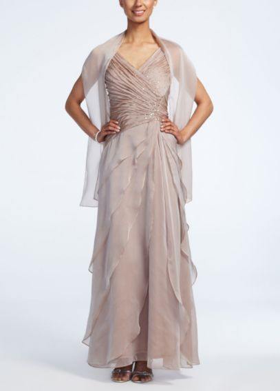Sleeveless Long Iridescent Layered Chiffon Dress 2098DB