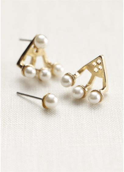 Triple Bauble Pearl Stud Earrings - Wedding Accessories