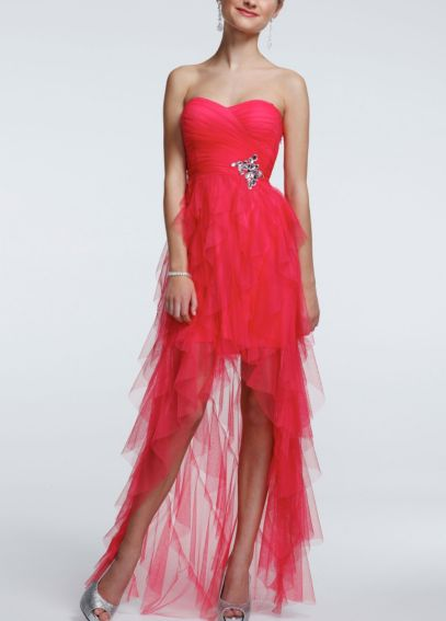 Strapless Ruffle High Low Beaded Dress 211S32420