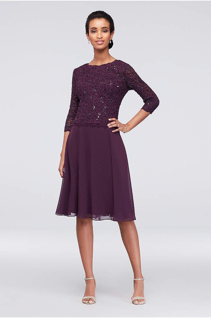 Sequin Lace Scoopneck Short A-Line Petite Dress - A classic petite dress for the mother of