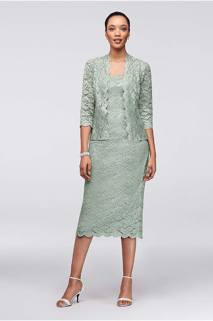 Scalloped Lace Tea-Length Petite Dress and Jacket - A perfect fit for petite ladies, this scalloped