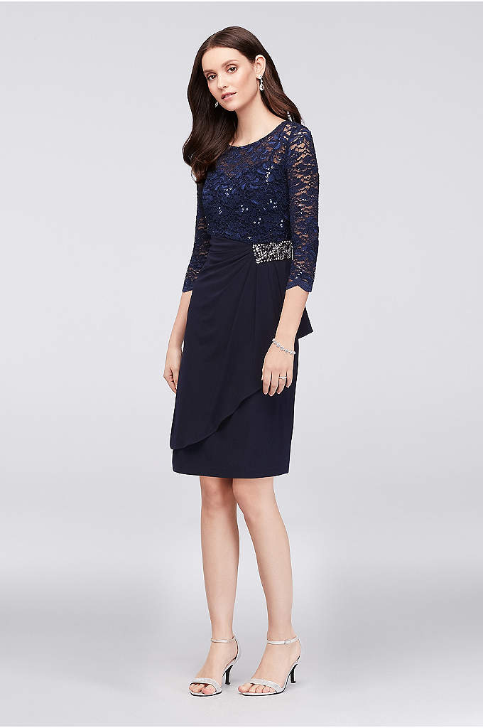 Beaded 3/4 Sleeve Illusion Lace Petite Dress - Regal details like an illusion lace neckline, a