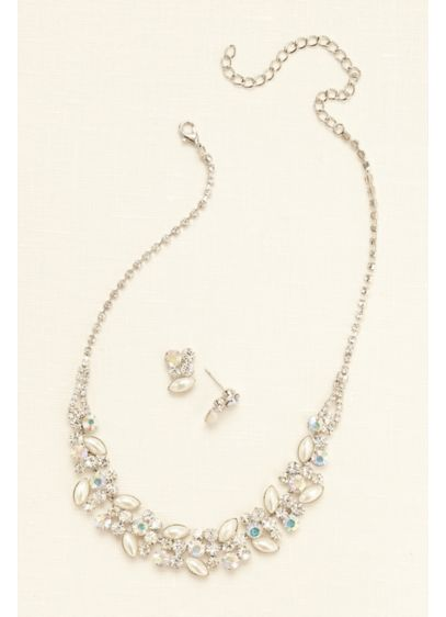 Pearl Crystal and Stone Necklace and Earring Set - Wedding Accessories
