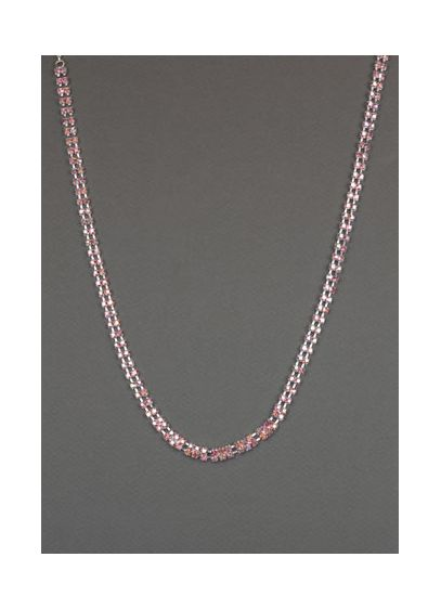 Pink Rose Two Strand Crystal Necklace - Wedding Accessories