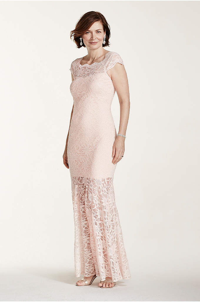 Off The Shoulder Lace Dress with Illusion Hemline