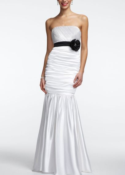 Strapless prom dress with black ribbon and flower davids for David s bridal clearance wedding dresses