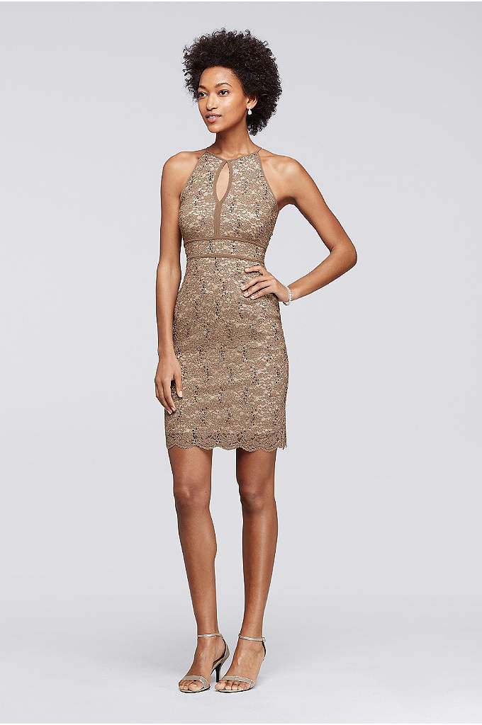 Short Glitter Lace Dress with Halter Neckline - Allover glitter lace makes this short party dress
